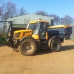 JCB fastrac and fertiliser spreader